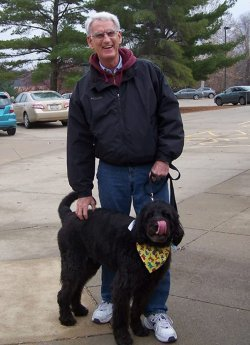 At the Iowa Arboretum during the ArbBark event for dogs and their owners!  Bailey is a 10-year old labradoodle.